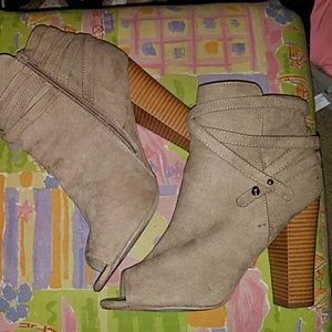 Tan Faux Suede Peep Toed Booties